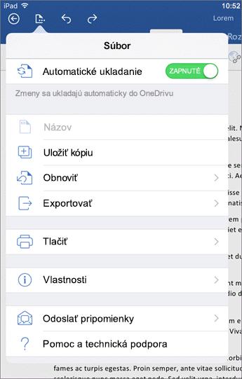Pomocou tlačidla Súbor vo Worde pre iOS môžete spustiť tlač, uložiť dokument, odoslať pripomienky a vykonať ďalšie akcie.
