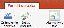 Tlačidlo Alternatívny text na páse s nástrojmi v PowerPointe pre Mac