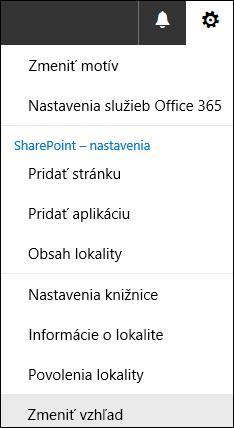 Snímka obrazovky zobrazujúca položku ponuky Zmena vzhľadu v SharePointe.