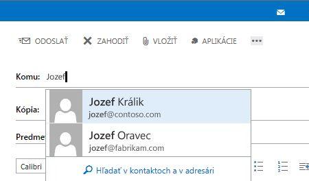 Zoznam funkcie Automatické dokončovanie aplikácie Outlook Web App
