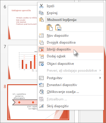 Z desno tipko miške kliknite sličico diapozitiva in nato kliknite »Izbriši diapozitiv«.
