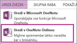 Ukaz »Uredi zvezek« v programu OneNote Online
