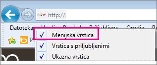 Prikaz menijske vrstice v Internet Explorerju