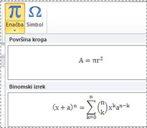 Vnaprej oblikovane enačbe na seznamu enačb