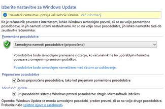 »Nastavitve Windows Update« operacijskega sistema Windows 8 na nadzorni plošči