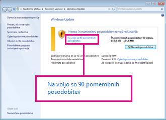 Povezave v podoknu storitve Windows Update