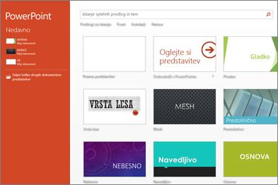 Začetni zaslon programa PowerPoint 2013