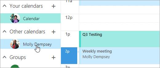 Posnetek zaslona koledarja v skupni rabi.