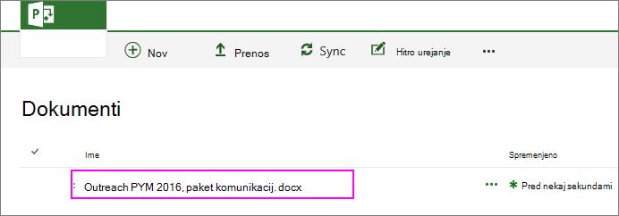 Datoteka je dodana v knjižnico dokumentov za projekt.