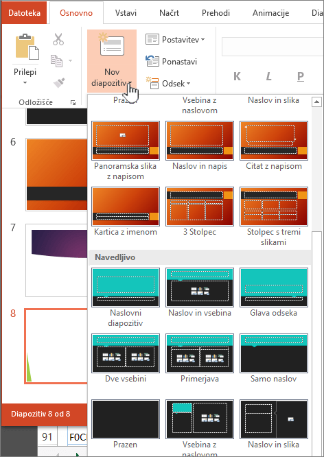 Kliknite puščico zraven možnosti »Nov diapozitiv«, da se prikaže izbor matric