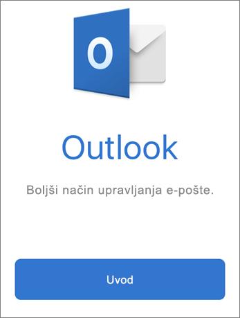 Posnetek zaslona aplikacije Outlook z gumbom Uvod
