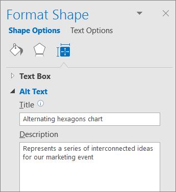Posnetek zaslona z območjem »Nadomestno besedilo« v podoknu »Oblikovanje oblike«z opisom izbrane slike SmartArt