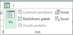 V orodni vrstici za hitri dostop kliknite »XML«