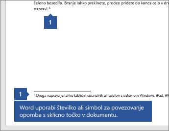 Word uporablja številko ali simbol za povezovanje opombe z referenčno točko v dokumentu