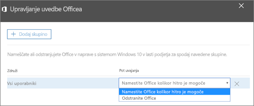 V podoknu za upravljanje uvedbe Officea izberite »Namesti Office čim prej« ali »Odstrani Office«.