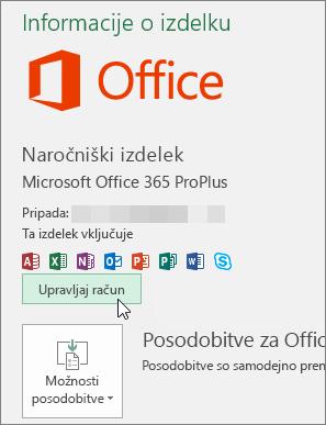 Posnetek zaslona, ki prikazuje izbrano možnost za upravljanje računa na strani »Račun« v Officeovi namizni aplikaciji