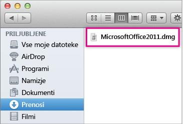 Izberite datoteko MicrosoftOffice2011.dmg