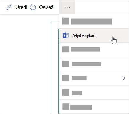 Izberite tri pike (...), če želite več možnosti in nato izberite Odpri v spletu.