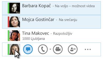 Posnetek zaslona s stiki in prikazom njihovega statusa ter označeno ikono NS