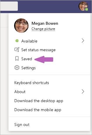 Shranjena sporočila v aplikaciji Teams