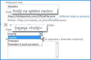 Posnetek zaslona razdelka »Nastavitve povezave« strani »Povezava »Pošlji«« v Skrbniškem središču SharePoint. Tukaj lahko navedete spletni naslov za ciljno mesto organizatorja vsebine.