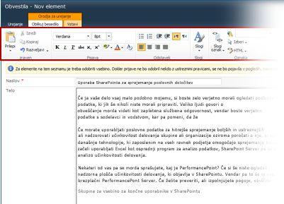 Urejevalnik obogatenega besedila za pisanje spletnega dnevnika