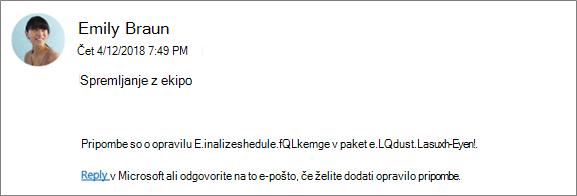 Zajem zaslona: prikaz e-poštnega sporočila skupine, kjer sodelavec odgovarja na prvo pripombo.