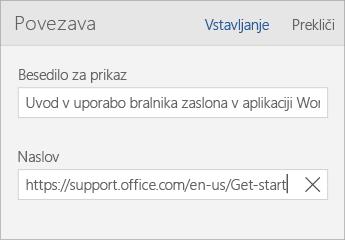 Posnetek zaslona pogovornega okna »Povezava« v programu Word Mobile s polji »Besedilo za prikaz« in »Naslov«.