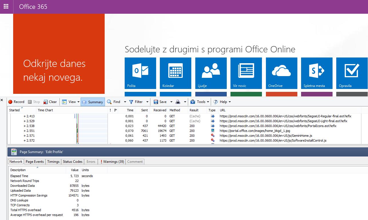 HTTPWatch prikazuje zavihek »Omrežje« za nalaganje domače strani v storitvi Office 365.