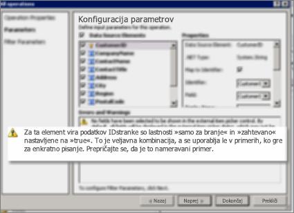 Posnetek zaslona (št. 2) pogovornega okna »Vse operacije« v SharePoint Designerju. Na tej strani je prikazano opozorilo z razlago nastavitev ključnih lastnosti na seznamu.