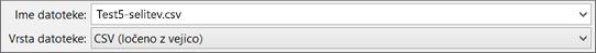 Pokaže možnost »Shrani kot CSV« v Excelu