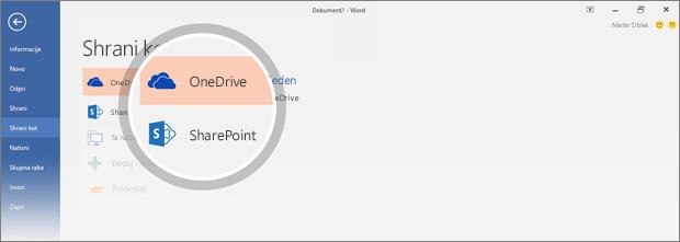 Mesta za shranjevanje dokumenta v storitvi OneDrive ali SharePointu so označena