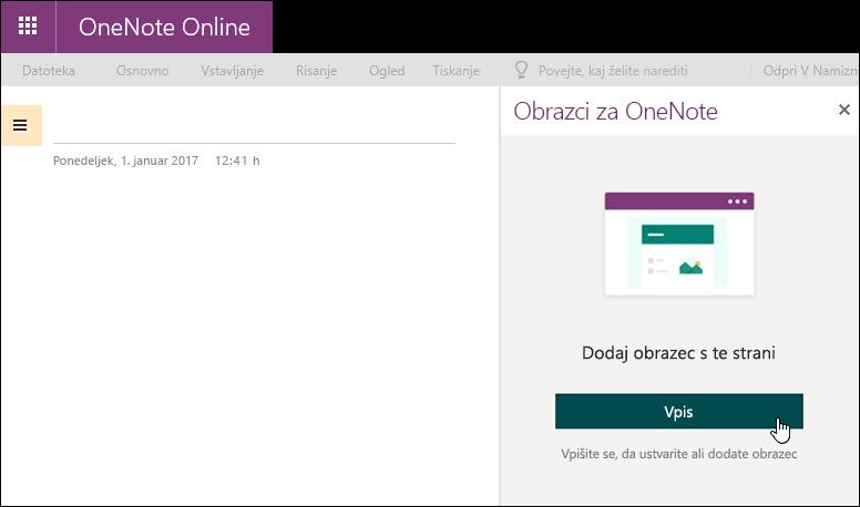 Obrazec za ploščo programa OneNote za splet