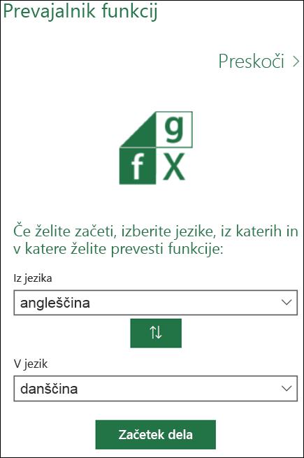 Podokno z jezikovnimi nastavitvami prevajalnika funkcij