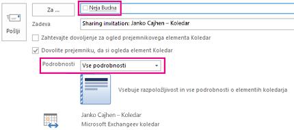 Povabilo k notranji skupni rabi e-poštnega nabiralnika – polje »Za« in nastavitev »Podrobnosti«