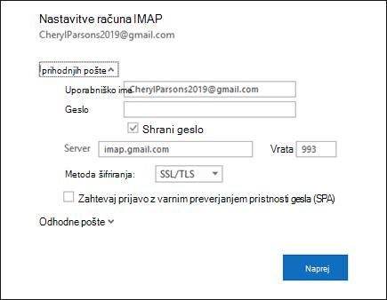 Izberite nastavitve strežnika, da spremenite uporabniško ime, geslo in nastavitve strežnika.