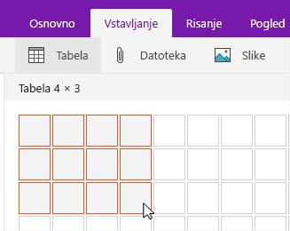 Ukaz »Vstavi tabelo« prikazuje mrežo izbora