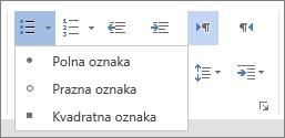 Posnetek zaslona možnosti »Oznake« v skupini »Odstavek« na zavihku »Osnovno« z možnostmi »Polna oznaka«, »Prazna oznaka« in »Kvadratna oznaka«.
