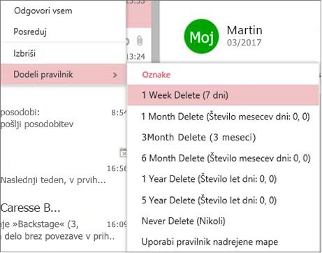 Posnetek zaslona primernih pravilnikov o hranjenju v skupinah v Outlooku v spletu