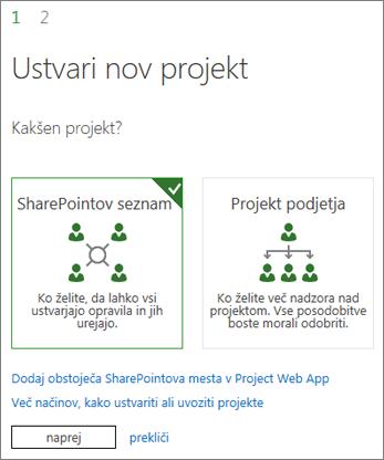 Ustvarjanje novega projekta