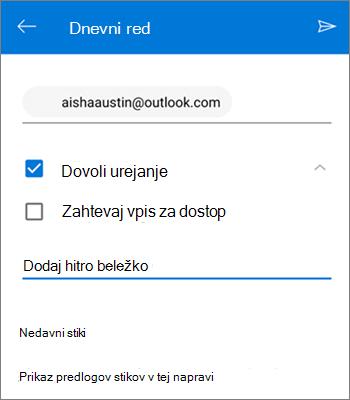 Posnetek zaslona z informacijami o povabilu osebam k skupni rabi datoteke iz storitve OneDrive za Android