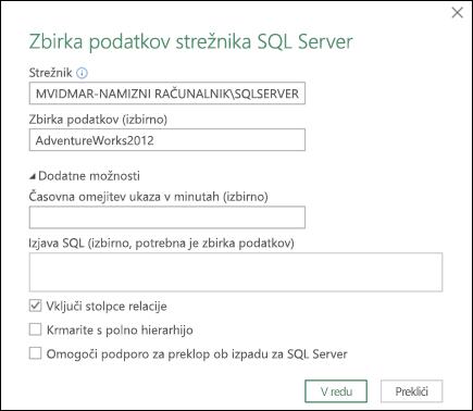 Pogovorno okno za vzpostavljanje povezave z zbirko podatkov strežnika Power Query SQL Server