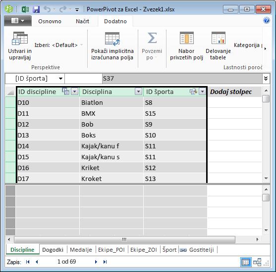 kopiranje polj v dodatku PowerPivot