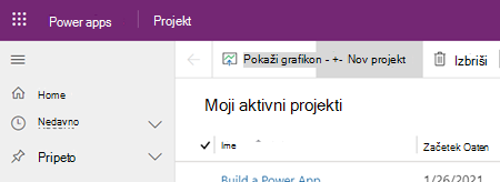 Gumb» nov projekt «v programu Project Power app