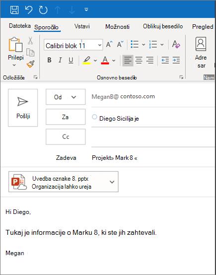 Skupna raba datoteke kot priloge