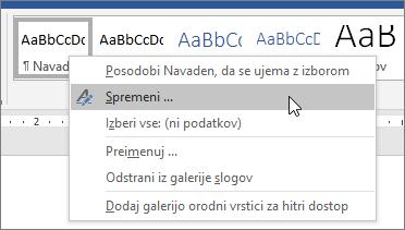 Z desno tipko miške kliknite navaden slog in izberite spremeni