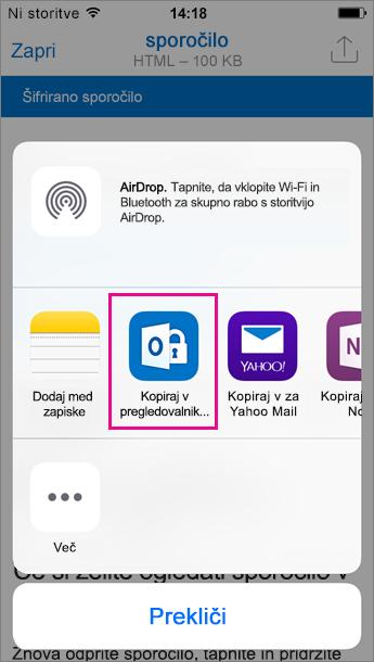 Pregledovalnik za šifrirana sporočila v storitvi Office 365 za Outlook za iOS 3