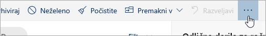 Posnetek zaslona gumba »Več ukazov«