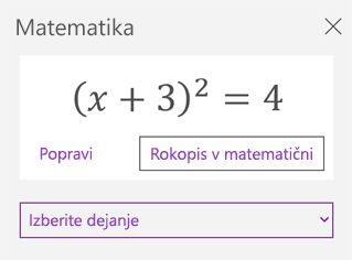 Matematična enačba v podoknu opravil »Matematika«