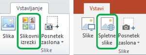 Če želite v Officeu vstaviti spletne slike, ki so bile prej imenovane slikovni izrezki,  uporabite zavihek »Vstavljanje« na traku.
